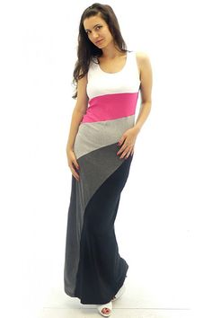 Long jersey dress with diagonal pattern. The main part of the dress is in black. The upper part of the model is with thick straps, shaped like a tank-top. The skirt of the dress is like a cala, turned upside-down.