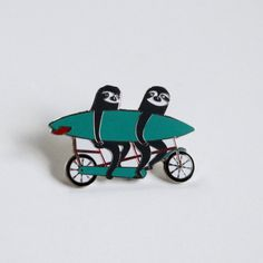 Tandem Sloths Pin, Surfing Sloth | StyleThrive