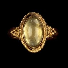 Roman ring, A.D. 375 - 400, gold and rock crystal, 1 1/8 x 1 in.