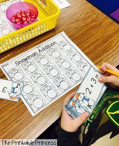 The Printable Princess: Winter Math Centers Subtraction Kindergarten, Kindergarten Centers, Math Centers, Kindergarten Addition, Touch Math, Math Addition, Math Classroom, Classroom Decor, Fun Math