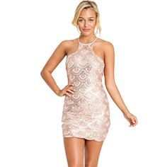 Round collar sequins design Bodycon dress (Pink, Black Available)