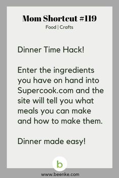 Food and Crafts Shortcuts #119: Dinner tips. Get your daily source of awesome life hacks and parenting tips! CLICK NOW to discover more Mom Hacks. #beenke #MomShortcuts #MomHack