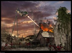 The War of the Worlds. Jeff Wayne Style by Michael Grote, via Behance Sience Fiction, Nobel Prize In Literature, Sci Fi Novels, Arte Tribal, World Of Tomorrow, Classic Sci Fi, Science Fiction Books, Retro Futurism, The Martian