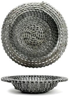 Recycled Bike Chain Bowl.  craft project?  It's worth a shot!