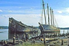 The sinking Schooners of Wiscasset Maine...I remember these when I first moved to Maine, but they're gone now.