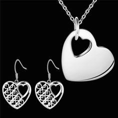 Продвижение серебряные Ювелирные Изделия устанавливает Ожерелье Серьги Розовое Сердце 18 дюймов Женщины CYPRIS…