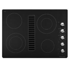 Love this possibility!  This would get rid of the hood over the cooktop!   KitchenAid�30-in Smooth Surface Downdraft Electric Cooktop (Black)