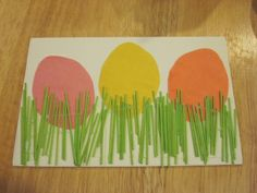 Fun and simple egg craft.  Dye spaghetti ahead of time.  Lucy had as much fun coloring the spaghetti as she did putting the picture together.