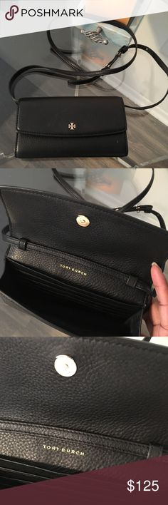 Tory Burch Pebbled Mini Wallet Cross-body bag Product description in pictures.   Gently used. Dust bag included. Tory Burch Bags Crossbody Bags