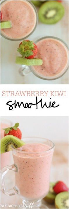 Healthy Smoothies Recipe This simple strawberry kiwi smoothie makes a great snack or delicious breakfast! Recipe from Six Sisters' Stuff - This simple strawberry kiwi smoothie makes a great snack or delicious breakfast! Best Smoothie Recipes, Yummy Smoothies, Smoothie Drinks, Breakfast Smoothies, Yummy Drinks, Breakfast Recipes, Yummy Food, Breakfast Ideas, Fruit Drinks