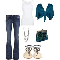 always love jeans with a tank, love the shrug,necklace, and the shoes i think...