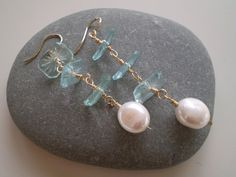 Antique Blue Beveled Etched Crystals & Freshwater by FMBdesigns