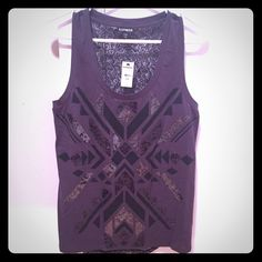 express Tribal tank Brand new never worn with tag. Size small. Lace back Express Tops Tank Tops