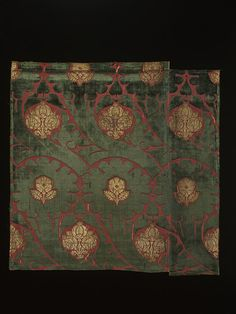 Italy (probably, designed and made), 15th century (designed and made),  Voided silk velvet, brocaded in gold