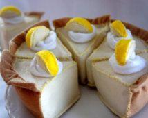 Sentía la comida pastel tarta de crema de limón, sentía jugar comida, comida de fieltro Tea Party, comida cocina jugar