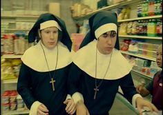 """yeah cause i just woke up and thought """"I should go to a store dressed like a nun cause why the hell not"""""""
