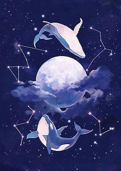 Pretty Art, Cute Art, Aesthetic Art, Aesthetic Anime, Images Aléatoires, Whale Art, Galaxy Art, Scenery Wallpaper, Kawaii Art