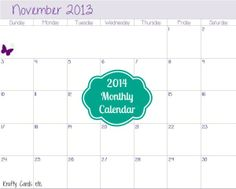 2014 Monthly Free Calendars. Click on  2013 picture and months will come up after December, 2013.  #freecalendar