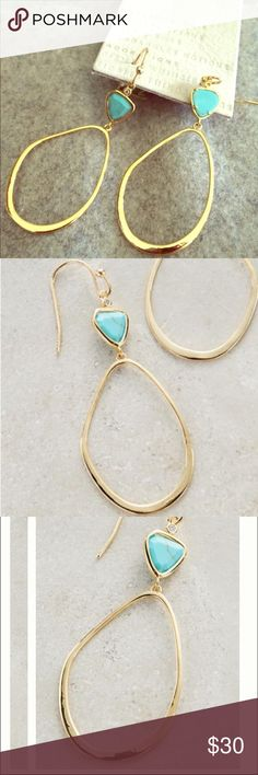 "Anthro Malibran Hoops Fantastic hoops! Perfect for day or night!! Metal and glass. Approx 2.25""L, .75""W. NWT Anthropologie Jewelry Earrings"
