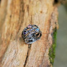 """Size 6.5 Sterling Silver Ring """"Candy"""" with Moonstone, Amethyst and Tourmaline READY TO SHIP one of a kind ring, three stone ring by BlackTreeLab on Etsy"""