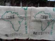 Large Hessian or Burlap Coffee Sack -  Kenya Coffee Map Africa Outline Sack cloth for Cushions Upholstery wall hanging creative display by VintageFoggy on Etsy