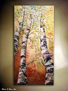 Art peinture. Original moderne bouleau arbre peinture couteau