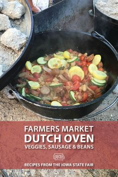 Camping doesn't mean you have to leave the healthy and fresh ingredients at home! Fuel up with these filling Dutch oven recipes straight from the farmers market! Dutch Oven Recipes, Side Recipes, Healthy Dinner Recipes, Camping Foil Meals, Camping Cooking, Camping Recipes, Iowa State Fair, Cast Iron Cooking, Dinner Is Served