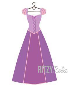 Disney Tangled Inspired Rapunzel Princess Dress Print by RitzyReba