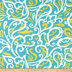 Richloom Indoor/Outdoor Albany Turquoise from @fabricdotcom From Richloom Fabrics, this great indoor/outdoor fabric is stain and water resistant. It is perfect for outdoor settings and indoors in sunny rooms. It is fade resistant up to 500 hours of direct sun exposure. Create decorative toss pillows, chair pads, slipcovers, placemats, and tote bags. Colors include turquoise, yellow and white.