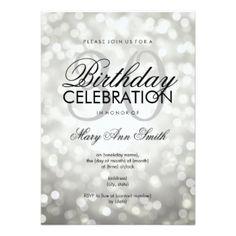 Elegant 30th Birthday Party Silver Glitter Lights 45 X 625 Invitation Card 60th