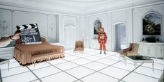 2001: A Space Odyssey: Keir Dullea as Bowman in the hotel replica suite