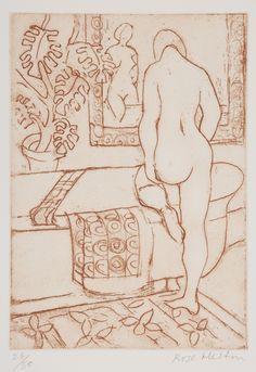Rose Hilton 'Bathroom', etching Goddess Of Love, St Ives, Watercolor Sketch, Sculpture, Fantastic Art, Life Drawing, Figurative Art, Artsy Fartsy, Printmaking