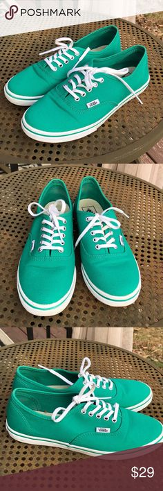 ✔️ Vans Authentic Lo Pro. Worn once.   Small discoloration on lace.   EUC.  Color is Teal Vans Shoes Sneakers