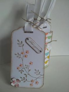 Vintage tags with matching box using Stampin' Up! products