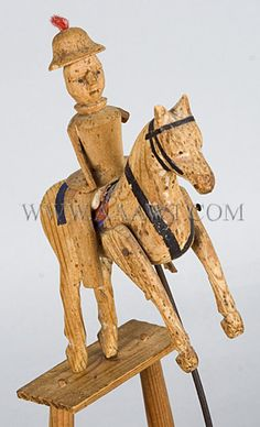 Antique Toy, Balancing Horse, Carved and Painted, 19th Century, horse and rider detail