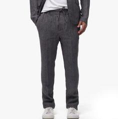 Slate Grey Linen Pants with Drawstring