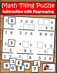 Free Subtraction with Regrouping Tiling Puzzle Can your students solve this puzzle? In this subtraction tiling puzzle students used the 0 - 9 tiles to fill in the blanks in these subtraction problems. It helps students work on subtraction and addition as well as critical thinking and problem solving. Download this free puzzle from my Teachers Pay Teachers store. 2nd grade 3rd grade math Raki's Rad Resources subtraction activities subtraction with regrouping