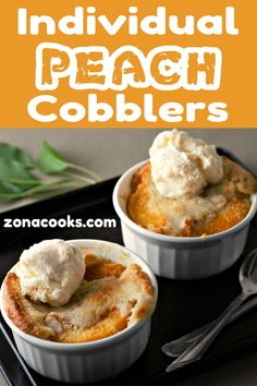 This easy individual Peach Cobbler is delicious and is ready in just one hour with just a few minutes of prep. Serve them in individual ramekins dishes for a fun change and for easy clean up. This recipe makes an impressive and romantic dessert for two. Mini Desserts, Single Serve Desserts, Individual Desserts, Small Desserts, Homemade Desserts, Just Desserts, Delicious Desserts, Ramekin Dessert Recipe, Dessert Recipes
