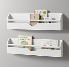 RH Baby & Child's Small Weathered Wall Bookrack - White:Our wall-mounted rack encourages reading by keeping books at eye level, and repurposes each book's cover art into a decorative display.