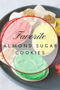 My favorite almond sugar cookies are easy, roll out, cut out sugar cookies! They are delicious with frosting, decorated with icing or topped with sprinkles! Roll Out Sugar Cookies, Baby Cookies, Heart Cookies, Baking Recipes, Cookie Recipes, Dessert Recipes, Dessert Ideas, Christmas Sugar Cookies, Valentine Cookies