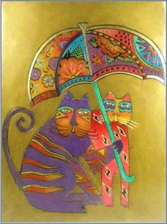 Image Detail for - Laurel Burch Decor - Cats with Umbrella RLB-09026