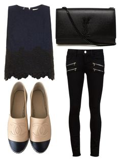 """""""Untitled #2579"""" by evalentina92 ❤ liked on Polyvore featuring Paige Denim, Rebecca Taylor, Chanel and Yves Saint Laurent"""