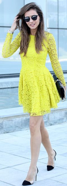 Hm Yellow Rounded Hem Lace Dress by LadyAddict