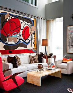 A room at the 2012 Kips Bay Show House. Design by Bunny Williams, Brian J. McCarthy and David Kleinberg Design Associates. Le Courbusier' tapestry.