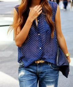 Denim Dotted Shirt With Leopard Belt