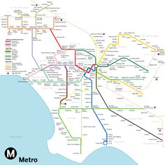 "subwaymaps: "" Los Angeles Includes all of LA Metro's currently unfunded projects. Green Line extensions to Norwalk and San Pedro; Wilshire, Santa Monica and Sepulveda Pass subway lines; Metro Mexico, Transport Map, Los Angeles Map, Train Map, Metro Rail, Subway Map, California Camping, Scenic Photography, Digital Photography"