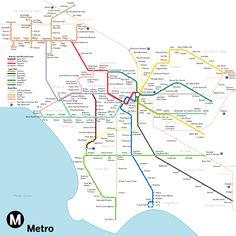 Metro de Los Angeles / Los Angeles subway #infografia #infographic #maps