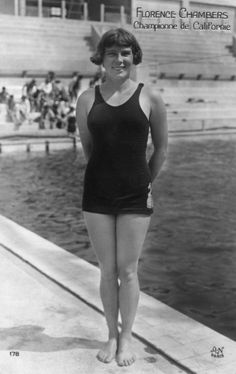Californian swimmer Florence Chambers poses in her Olympic swimming costume before diving in the pool at the 1924 Olympics in Paris.