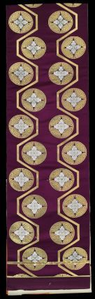 Obi  Japanese, 20th century, 96 x 27 in, Silk twill with supplementary synthetic metallic patterning wefts, Length of fabric for obi with design of repeating karahana-type floral medallions in white silk and silver and gold metallic threads alternating back and forth along the sides of two gold metallic bands and on a purple twill-weave silk ground. MFA