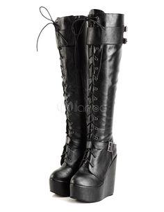 Black Round Toe Wedge Heel PU Leather Women's Knee Length Boots -No.5